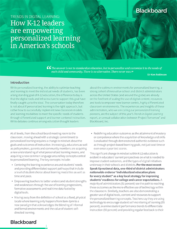 Trends in digital learning: How K-12 leaders are empowering personalized learning in America's schools PDF